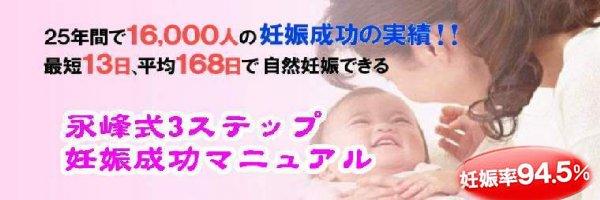 永峰式3ステップ妊娠成功マニュアル 不妊は、自然妊娠で子供を授かる、妊娠率94.5%の永峰式 剛の妊娠法です。